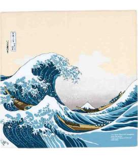 Yamada Seni Musubi – Japanisches Tuch - Ukiyo-und Under The Wave Off Kanagawa Beige - 100% Baumwolle