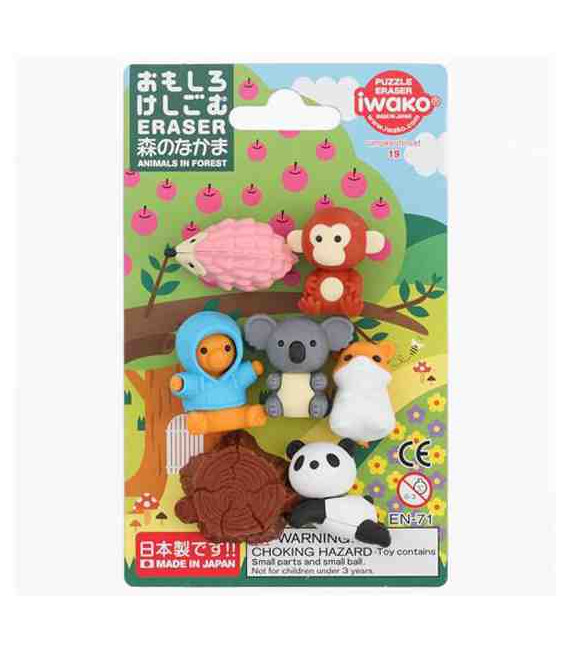 Iwako Puzzle Eraser - Animals in Forest - (Gomas de borrar con diseños) Hecho en Japón