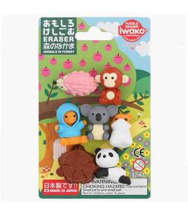 Iwako Puzzle Eraser - Animals in Forest - (Radiergummis mit verschiedenen Designs) Hergestellt in Japan