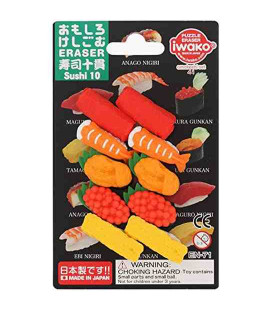 Iwako Puzzle Eraser - Sushi 10 - (Radiergummis mit verschiedenen Designs) Hergestellt in Japan
